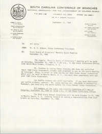 South Carolina Conference of Branches of the NAACP Memorandum, September 11, 1984