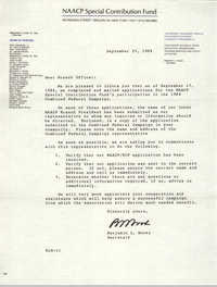 NAACP Special Contribution Fund Memorandum, September 25, 1984