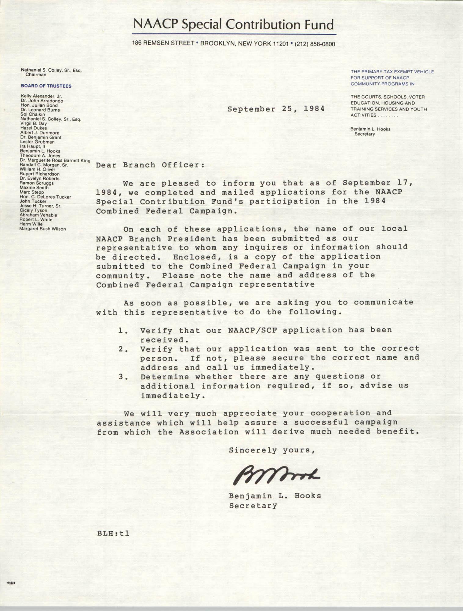 NAACP Special Contribution Fund Memorandum, September 25, 1984