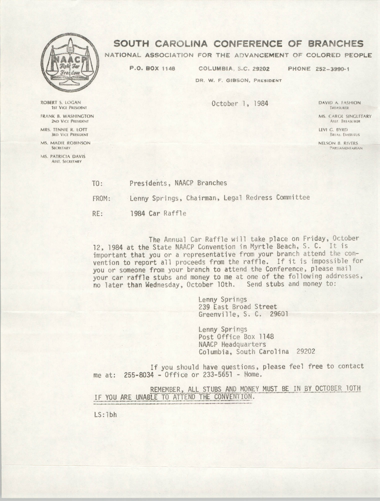 South Carolina Conference of Branches of the NAACP Memorandum, October 1, 1984