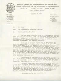 South Carolina Conference of Branches of the NAACP Memorandum, September 10, 1984
