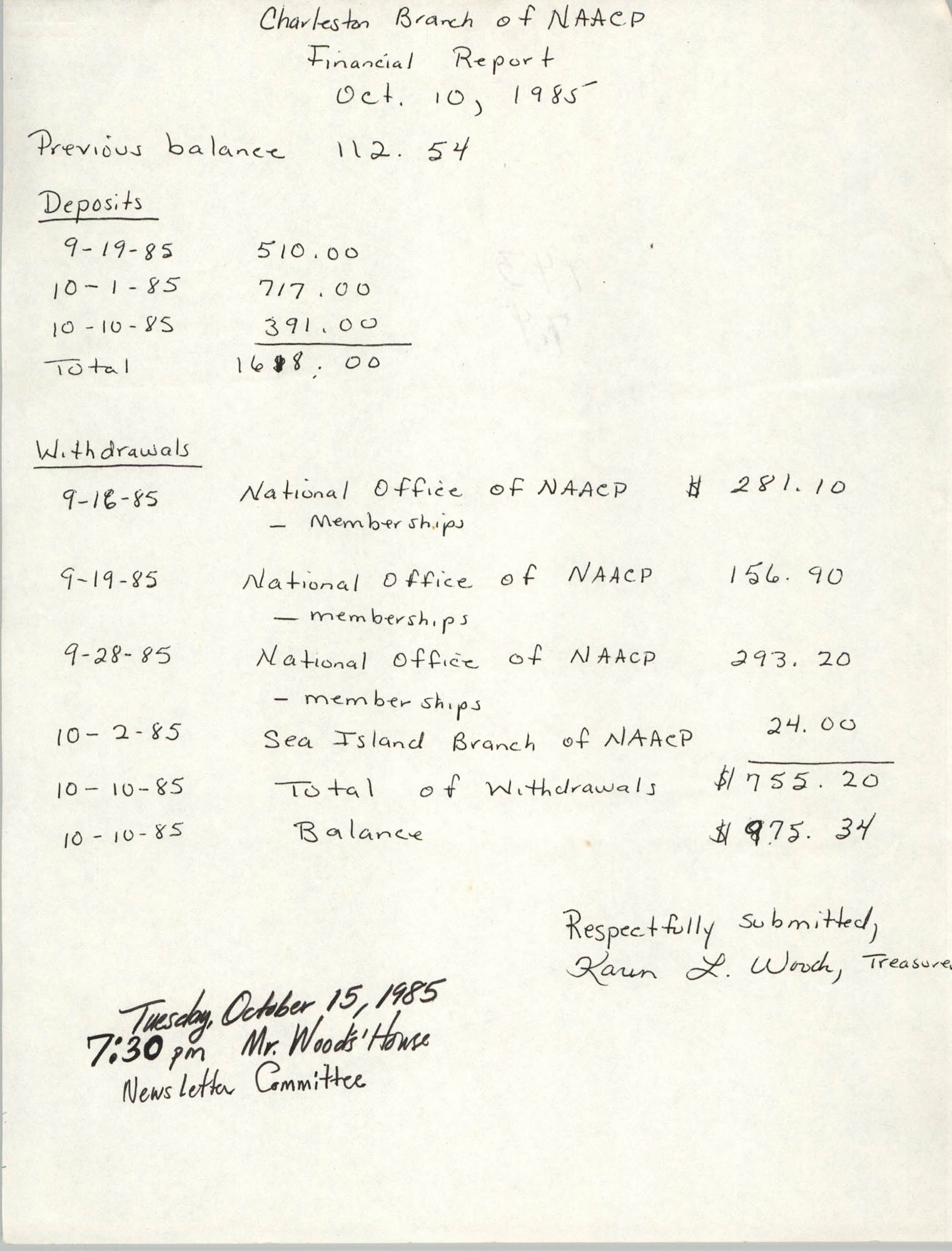 Charleston Branch of the NAACP Financial Report, October 10, 1985