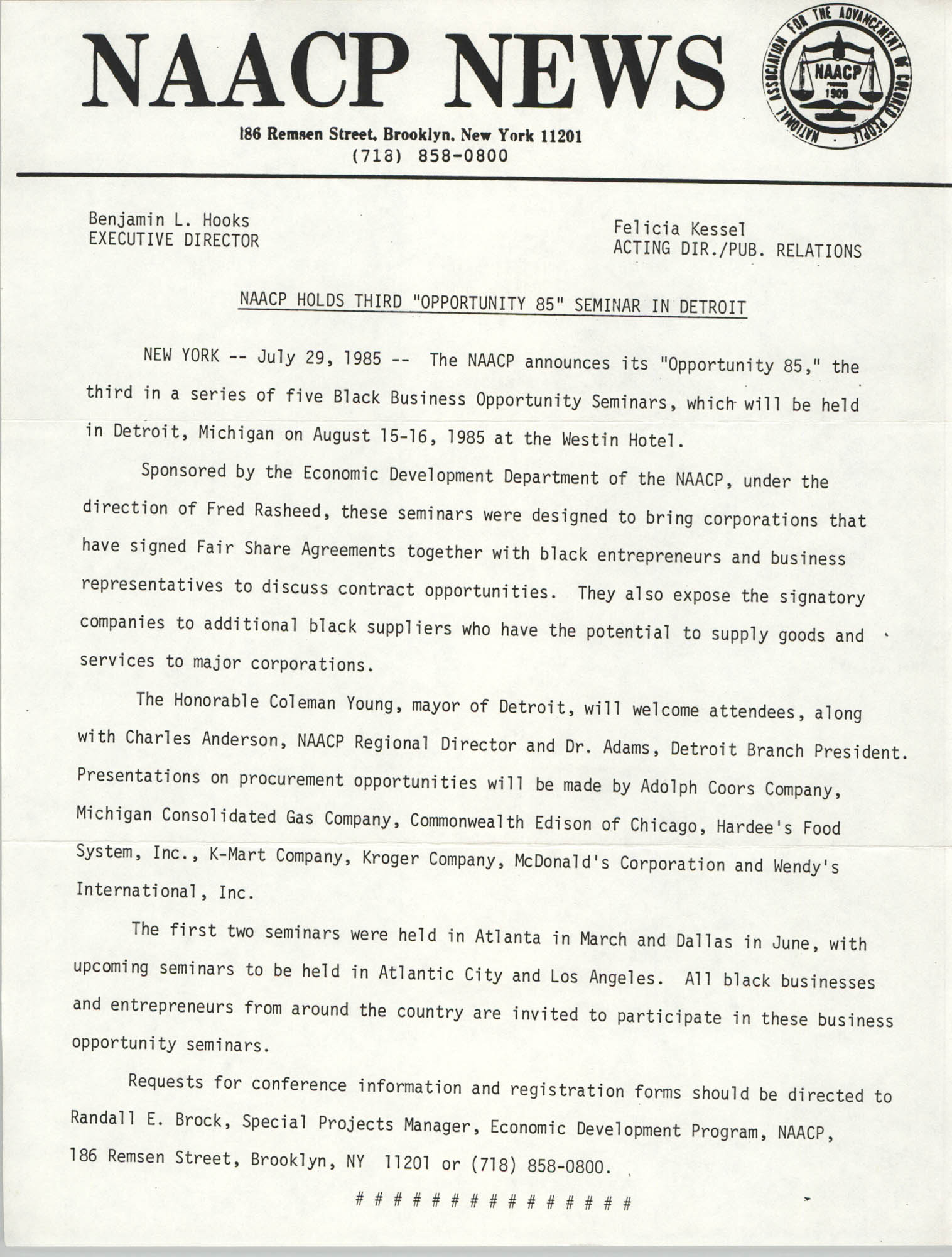 NAACP News Statement, June 29, 1985