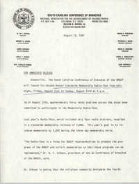 South Carolina Conference of Branches of the NAACP Press Release, August 13, 1987