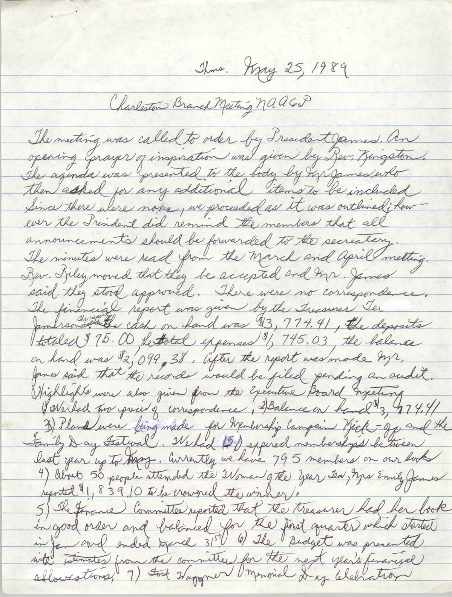 Minutes, Charleston Branch of the NAACP General Membership Meeting, May 25, 1989