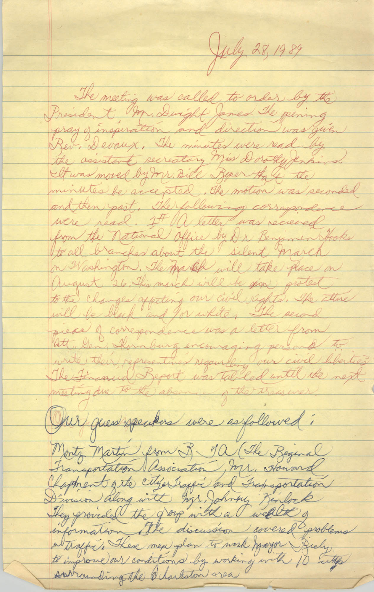 Minutes, Charleston Branch of the NAACP Meeting, July 28, 1989