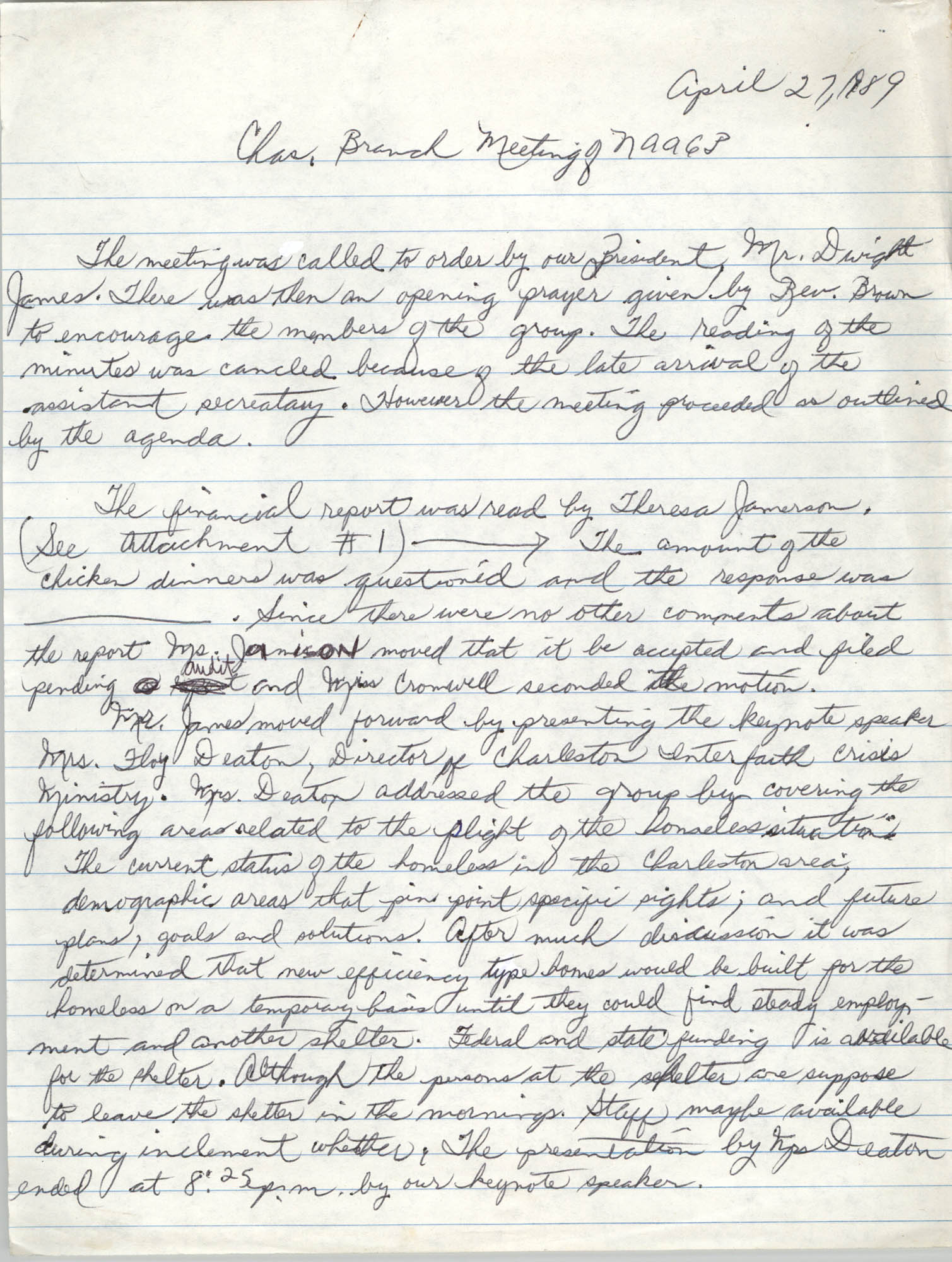Minutes, Charleston Branch of the NAACP, March 30, 1989