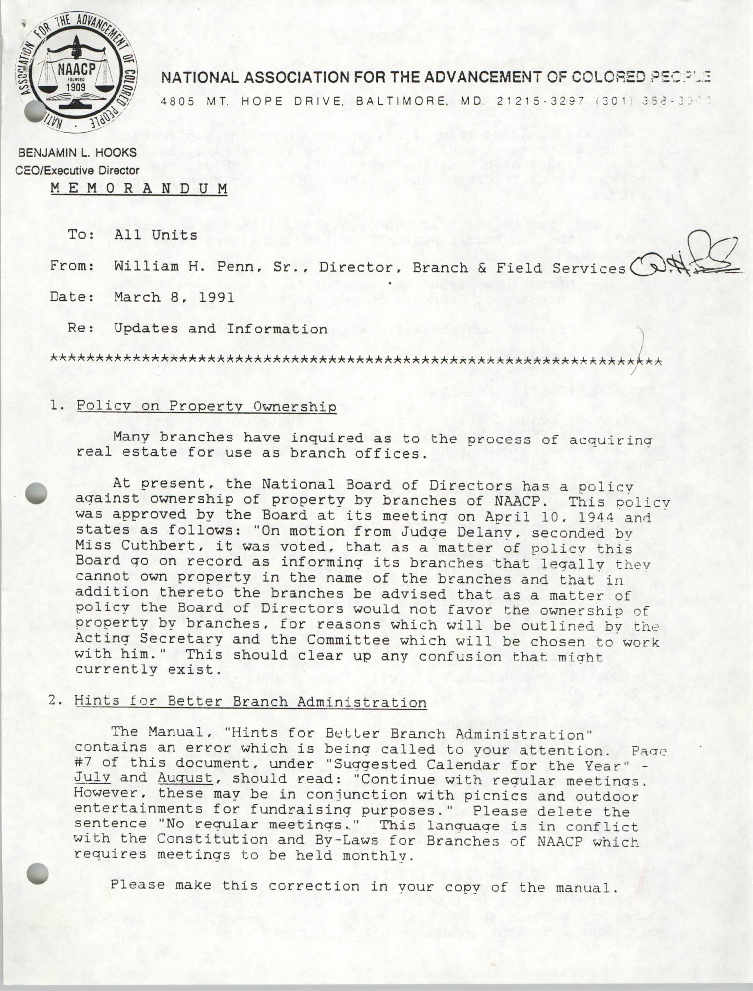 NAACP Memorandum, March 8, 1991