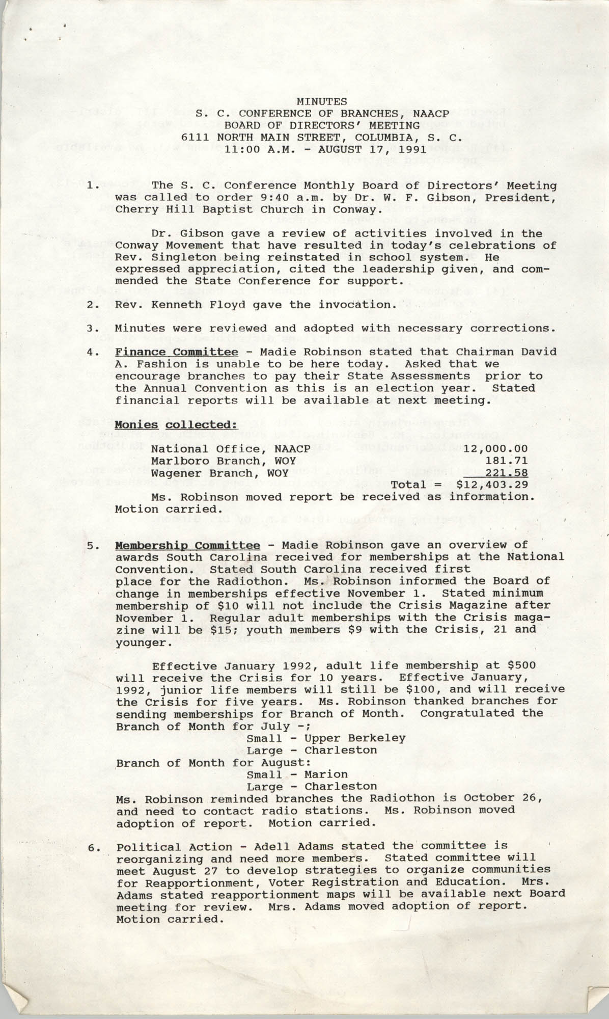 Minutes, South Carolina Conference of Branches of the NAACP, April 17, 1991