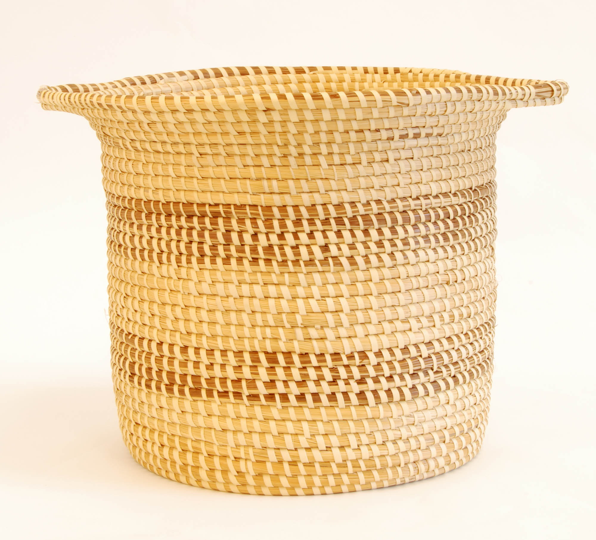 Sweetgrass waste basket with handles