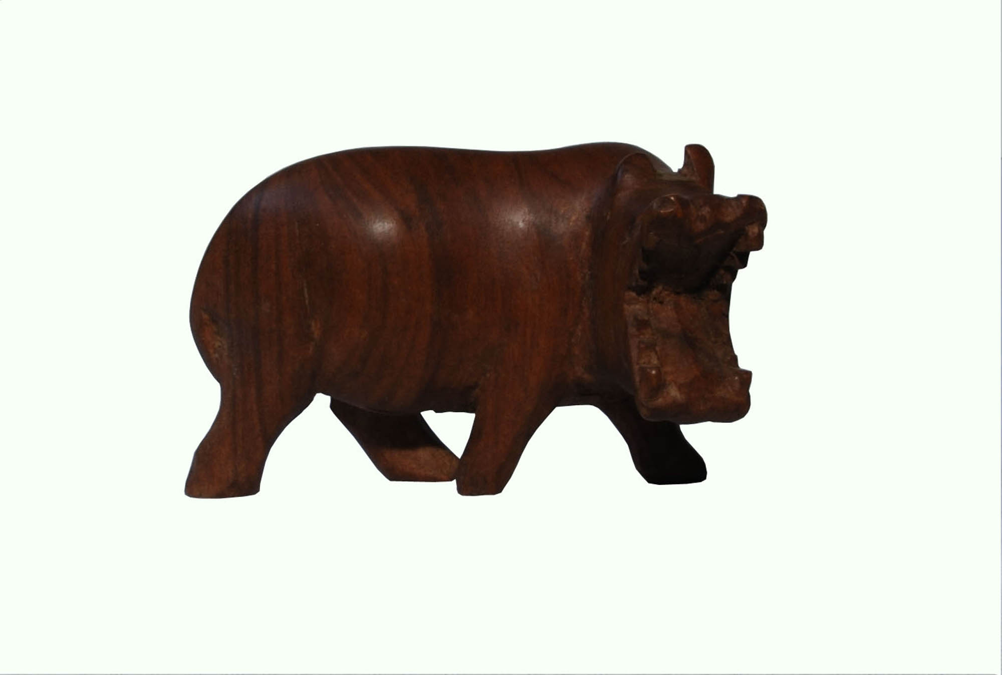 Wooden hippopotamus carving
