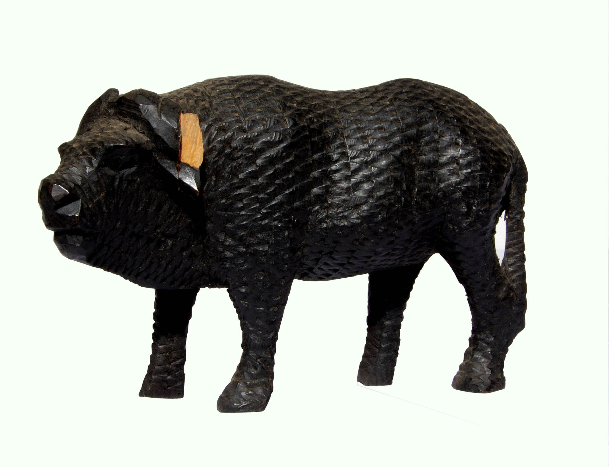Wooden buffalo carving