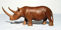 Wooden rhinoceros carving