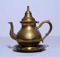 Brass teapot with tray