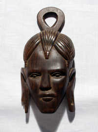Carved wooden head