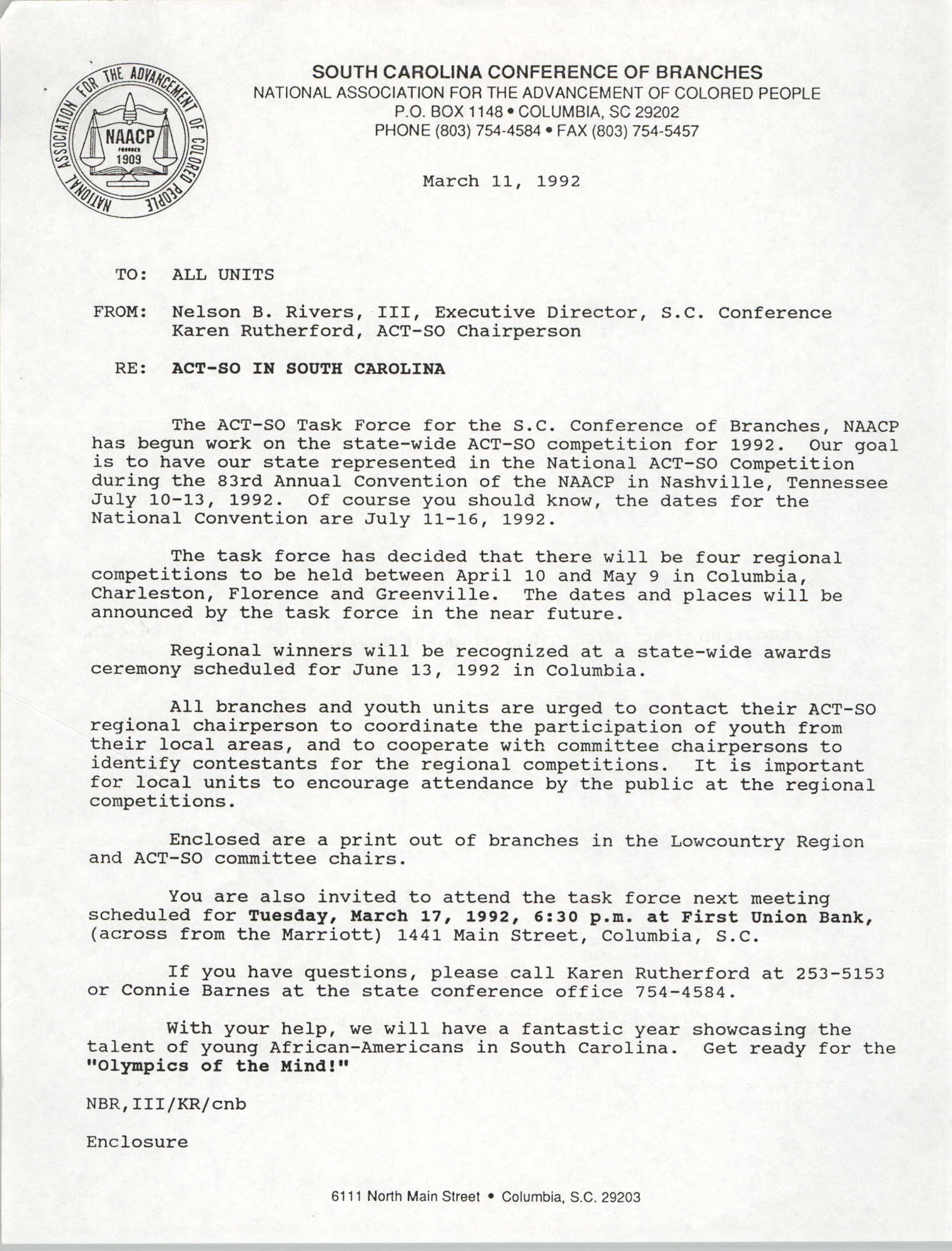 South Carolina Conference of Branches of the NAACP Memorandum, March 11, 1992