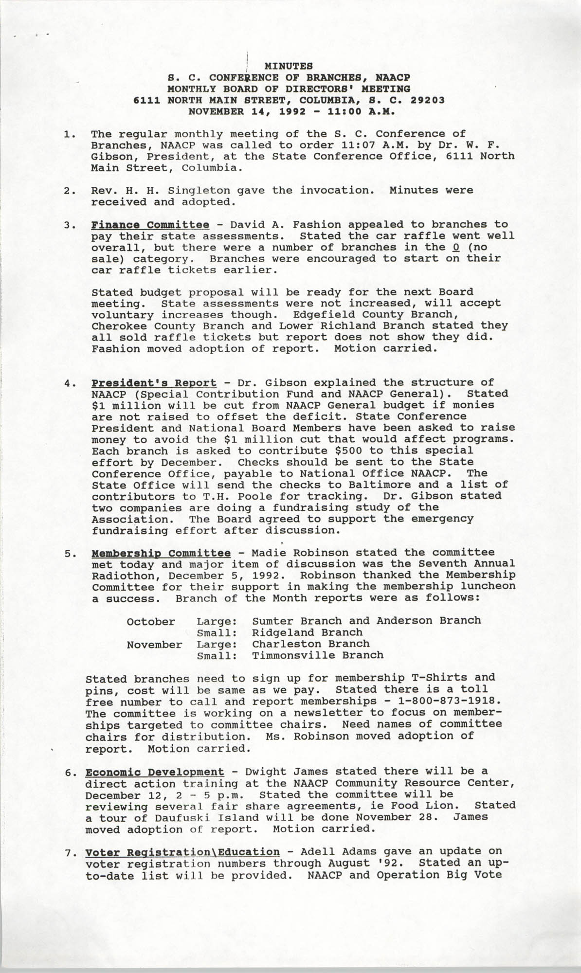 Minutes, South Carolina Conference of Branches of the NAACP, November 14, 1992
