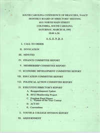 Agenda, South Carolina Conference of Branches of the NAACP, March 14, 1992