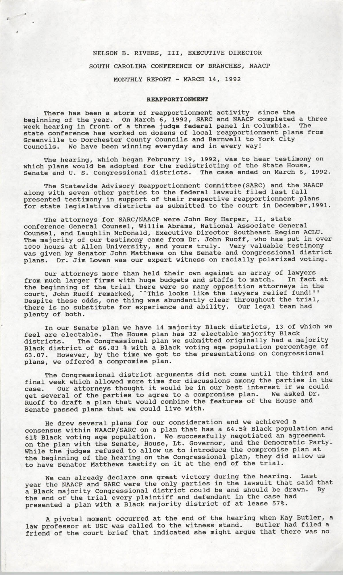 South Carolina Conference of Branches of the NAACP Monthly Report, March 14, 1992