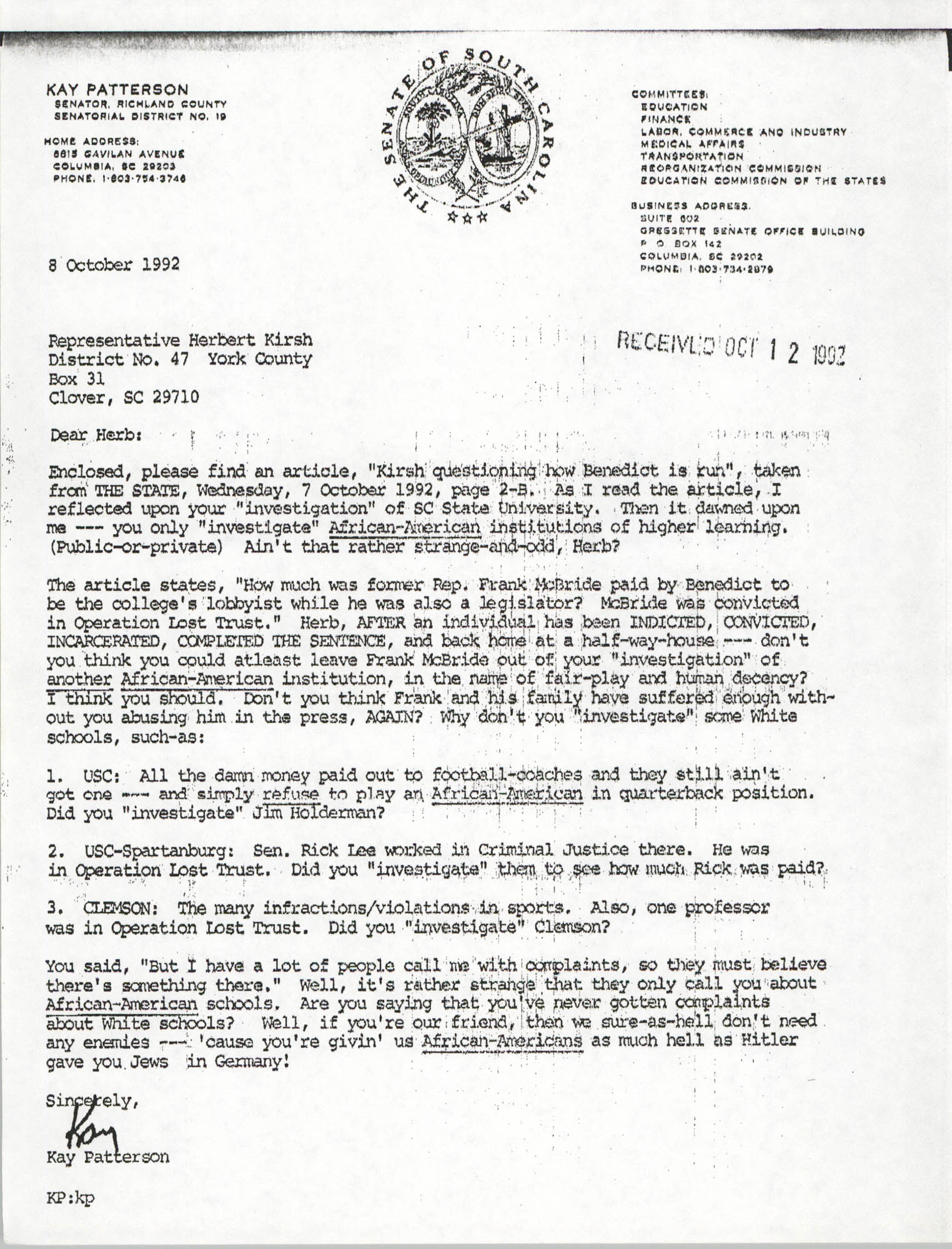 Letter from Kay Patterson to Herbert Kirsh, October 8, 1992