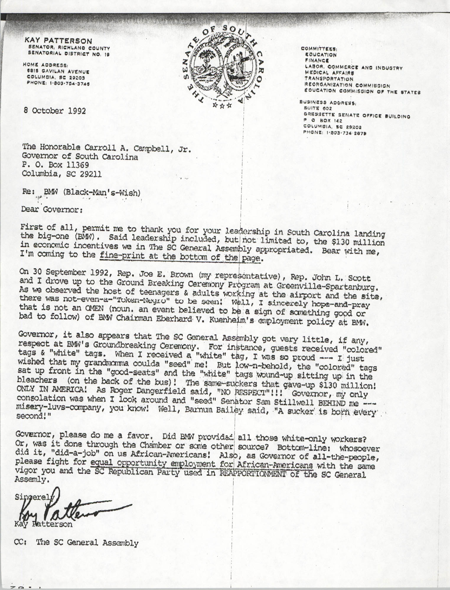 Letter from Kay Patterson to Carroll A. Campbell, Jr., October 8, 1992
