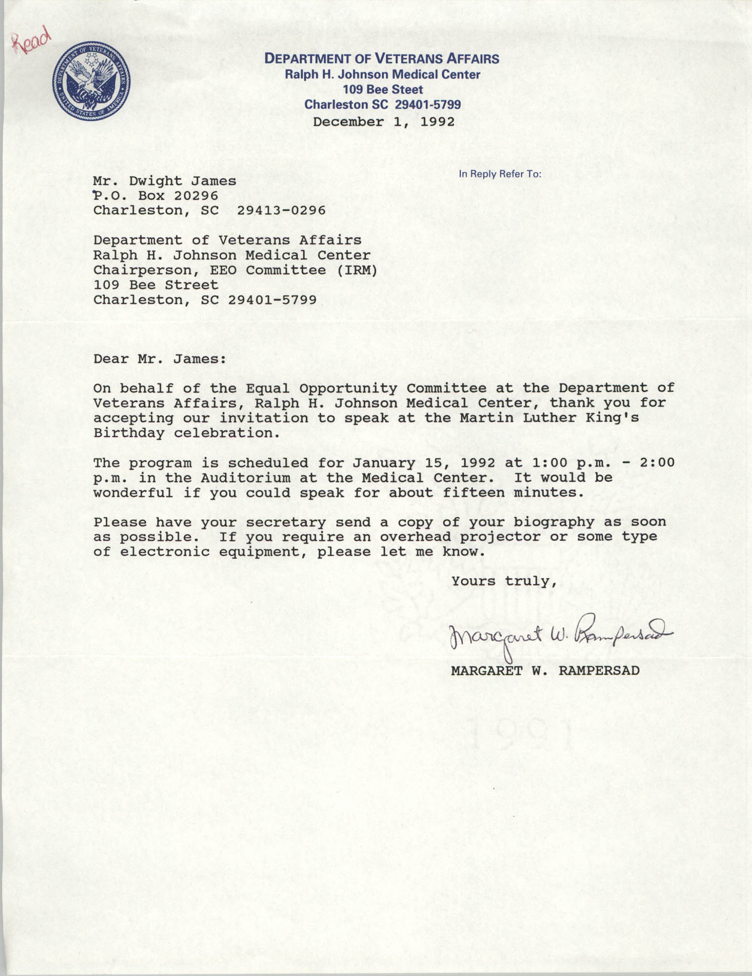 Letter from Margaret W. Rampersad to Dwight James, December 1, 1992