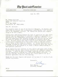 Letter from Paul Sharry to Rodney Williams, June 18, 1993