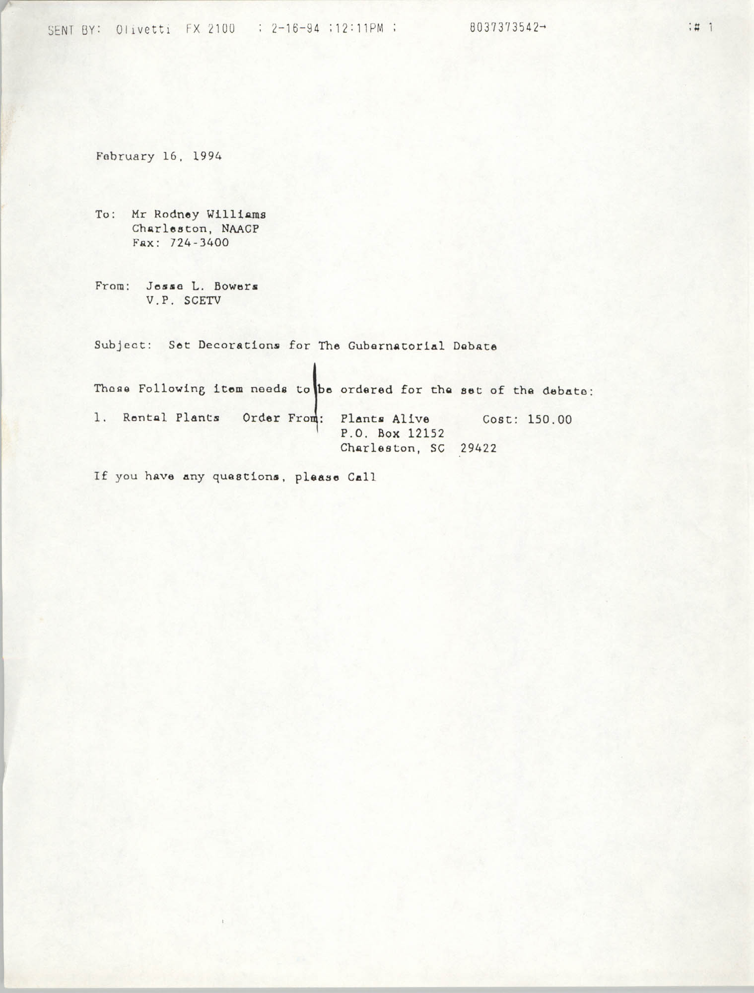 Letter from Jesse L. Bowers to Rodney Williams, February 16, 1994