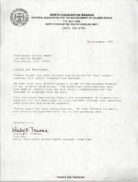 Letter from Wesley B. Freeman to Charleston Branch of the NAACP, November 26, 1991