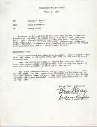 Charleston Branch of the NAACP Memorandum, March 5, 1991