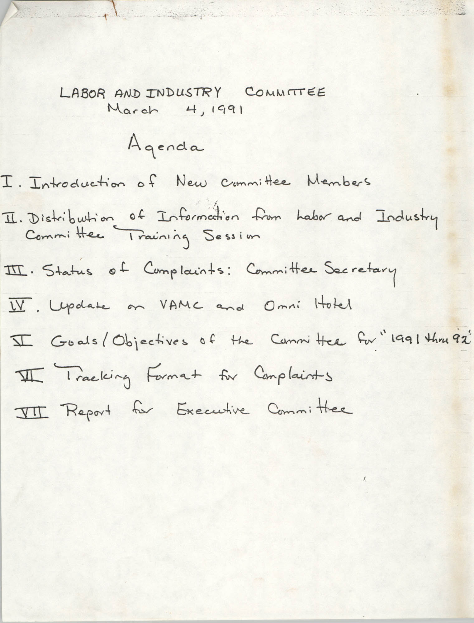 Charleston Branch of the NAACP Labor and Industry Committee Agenda, March 4, 1991