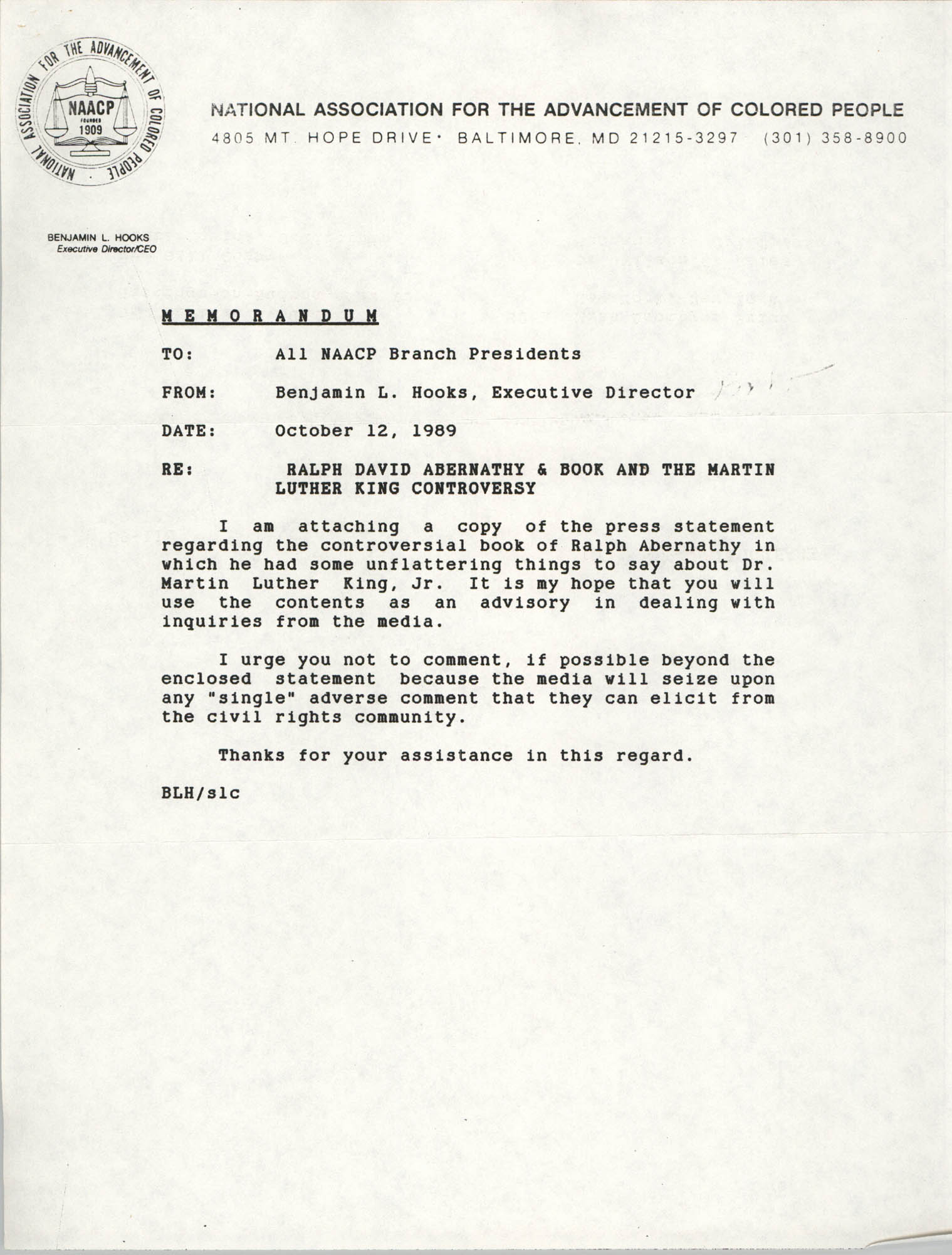NAACP Memorandum, October 12, 1989