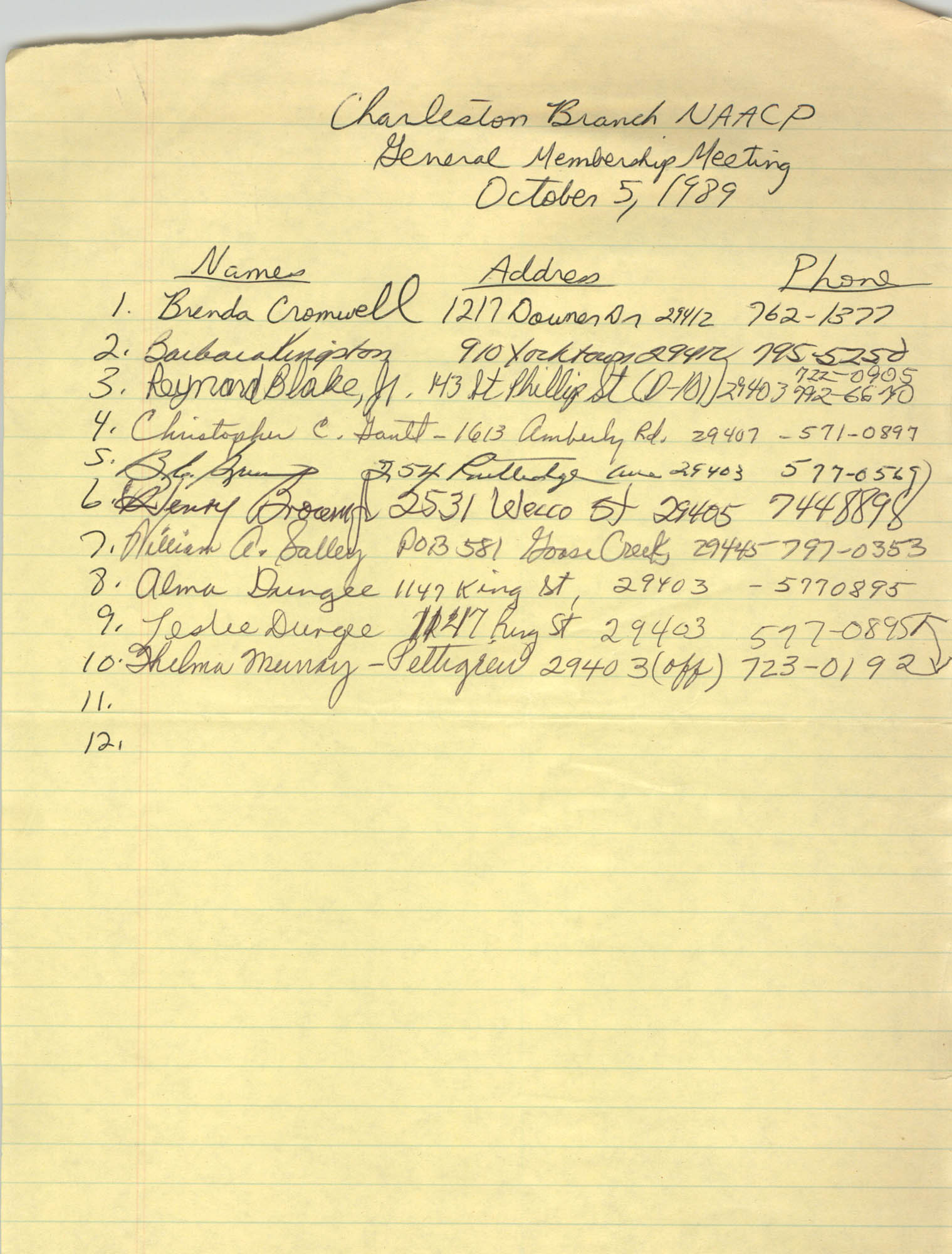 Sign-in Sheet, Charleston Branch of the NAACP, General Membership Meeting, October 5, 1989