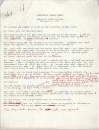 Minutes, Charleston Branch of the NAACP Executive Board Meeting, November 8, 1989