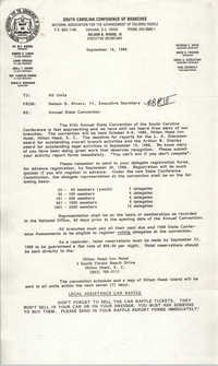 South Carolina Conference of Branches of the NAACP Announcement, September 16, 1988