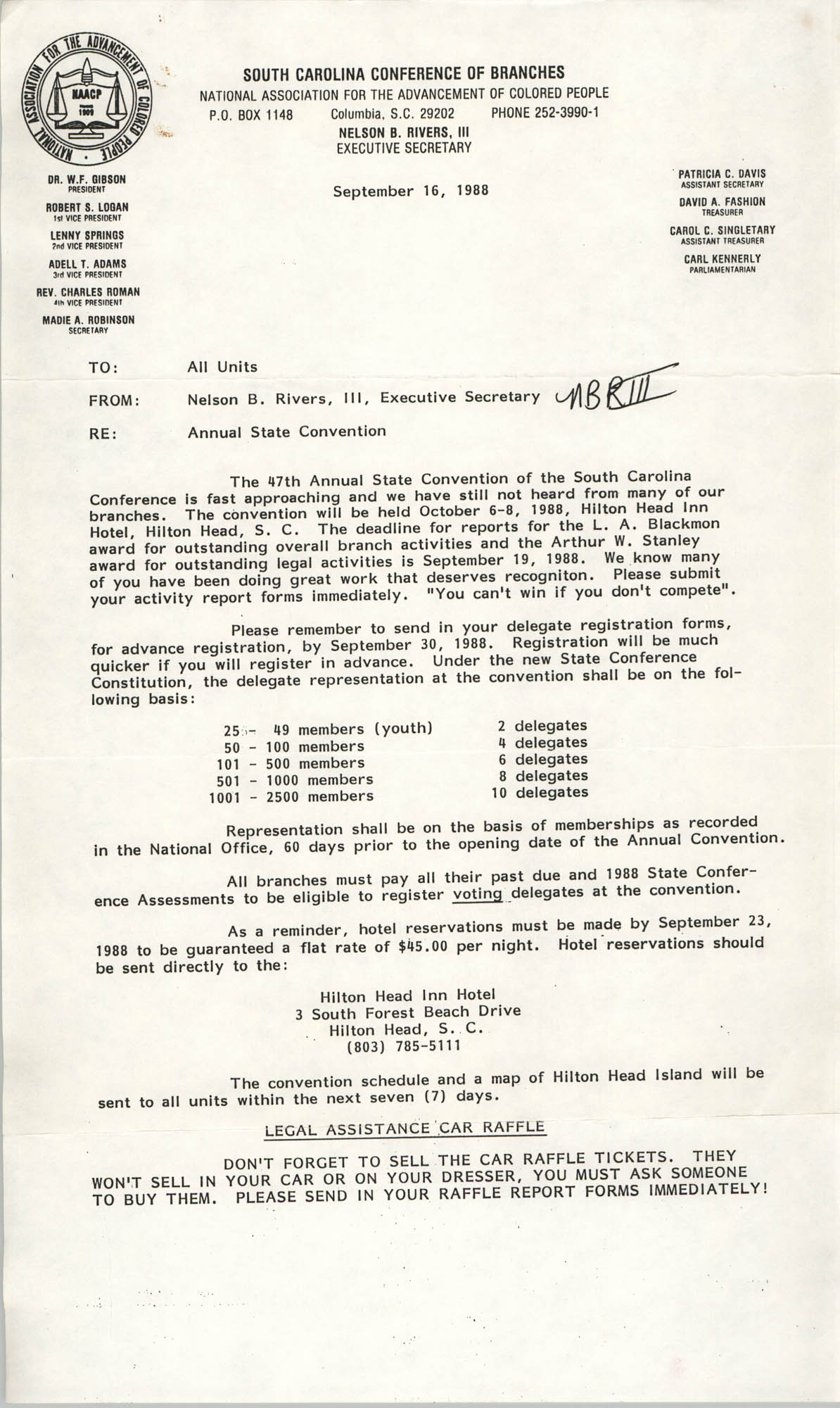 South Carolina Conference of Branches of the NAACP Memorandum, September 16, 1988