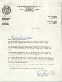 Sea Island Branch of the NAACP Memorandum, July 7, 1988