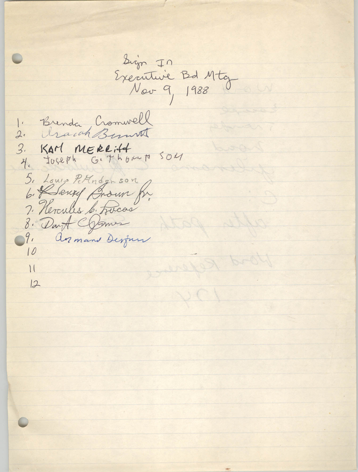 Sign-in Sheet, Charleston Branch of the NAACP, Executive Board Meeting, November 9, 1988