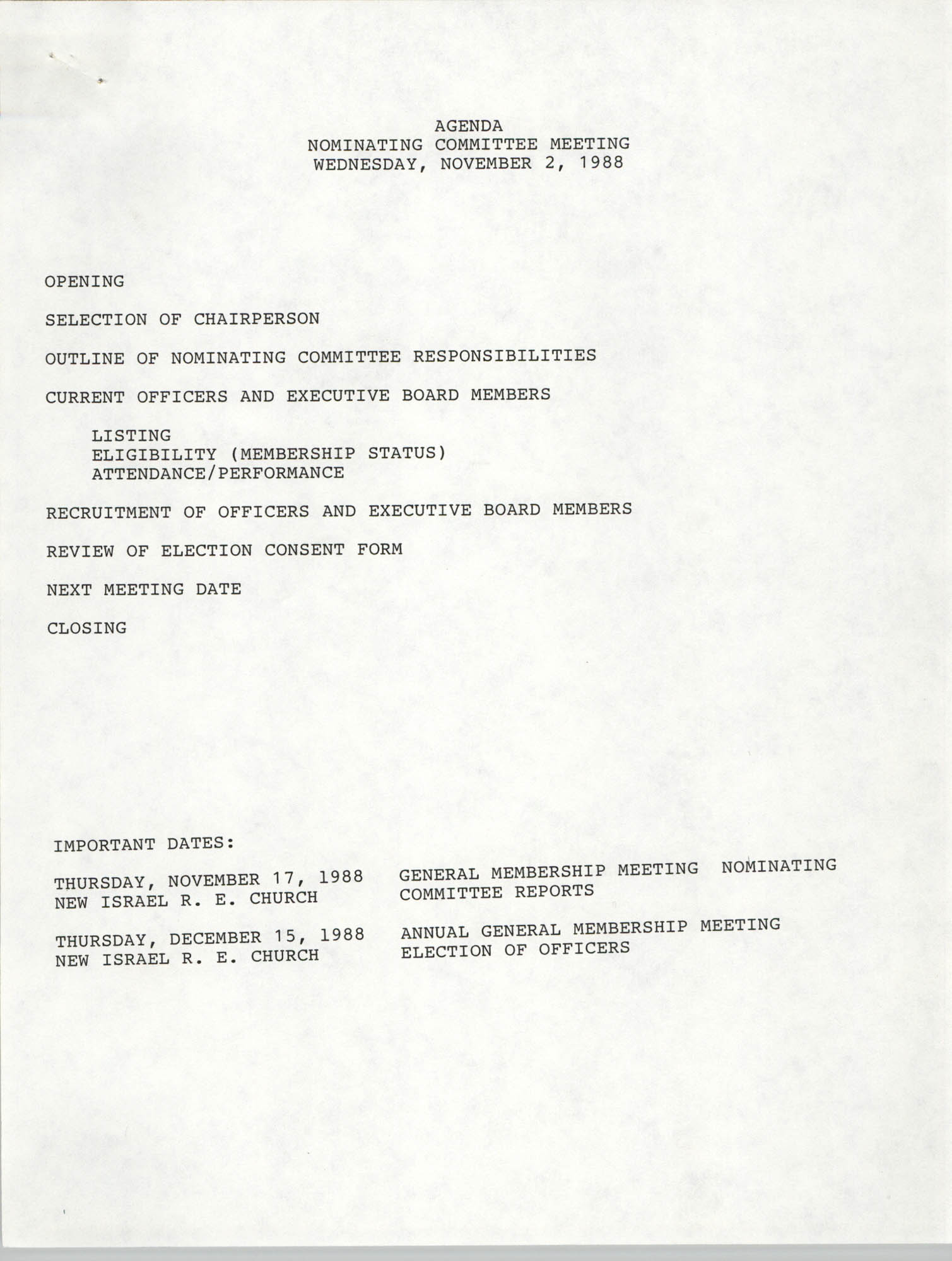 Agenda, Charleston Branch of the NAACP Branch Nominating Committee Meeting, November 2, 1988