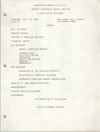 Agenda, Charleston Branch of the NAACP, December 15, 1988