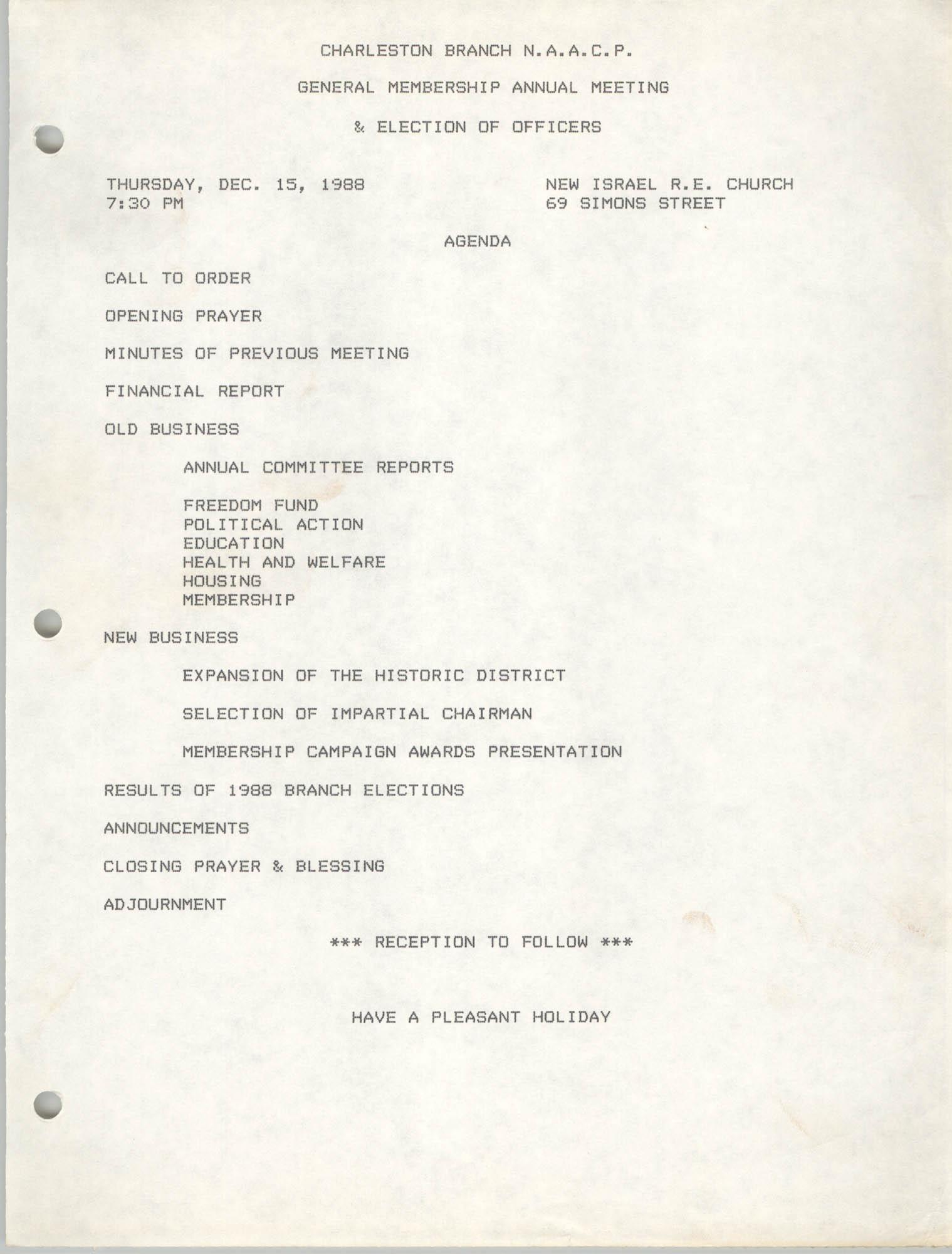 Agenda, Charleston Branch of the NAACP, December 15, 1988