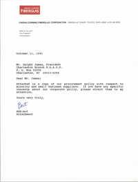 Letter from Bert E. Elliott to Dwight James, October 11, 1991