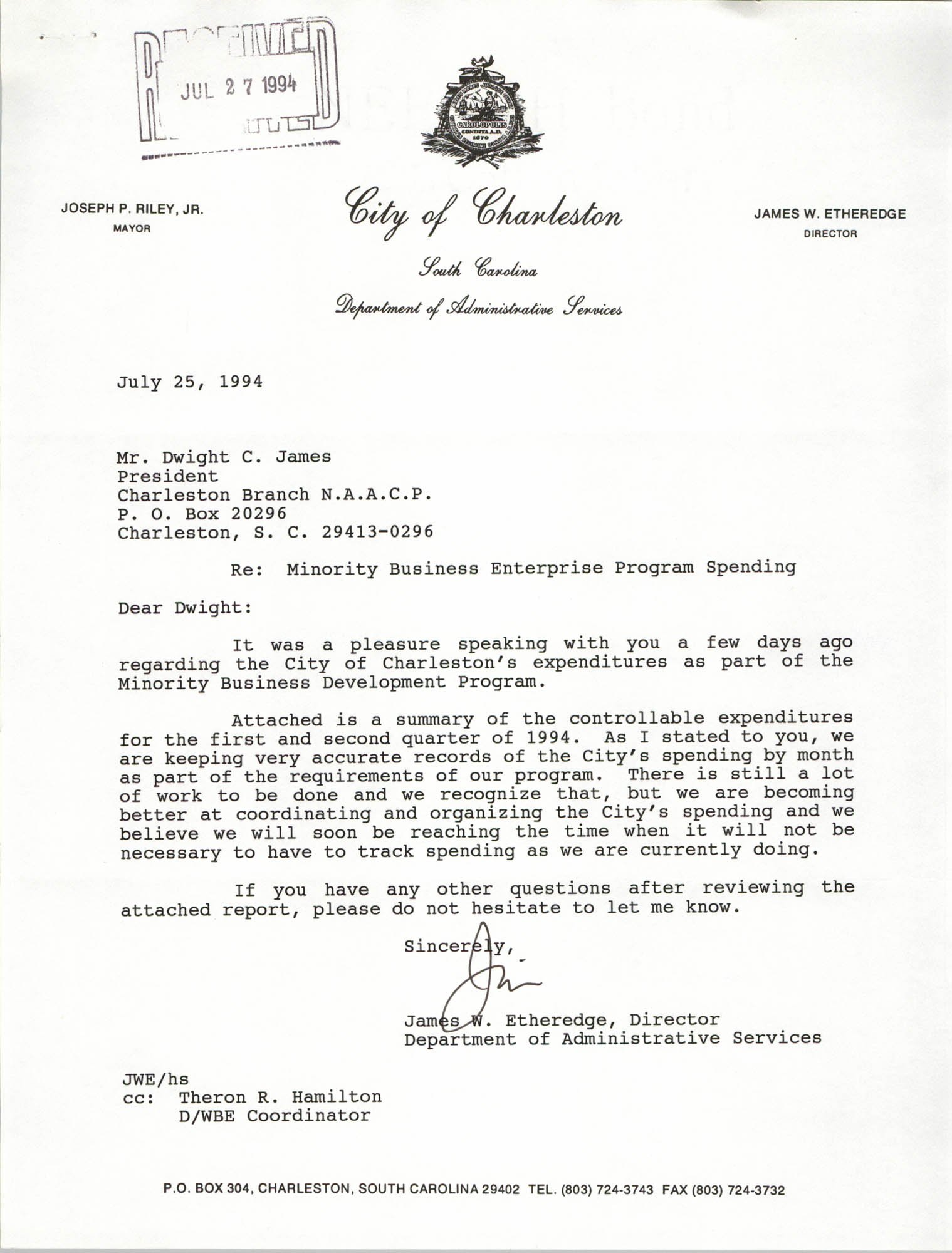 Letter from James W. Etheredge to Dwight C. James, July 25, 1994
