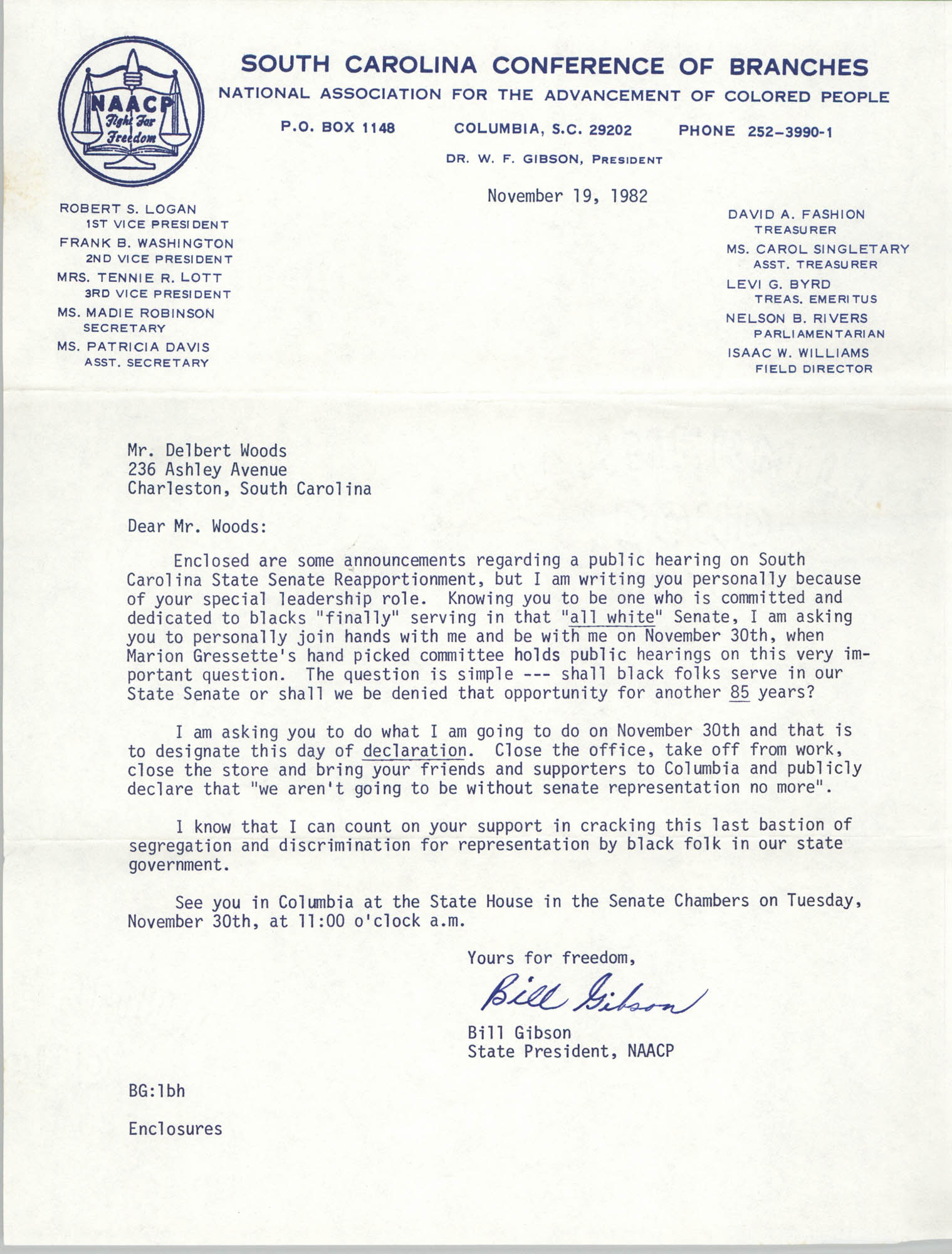 Letter from Bill Gibson to Delbert Woods, November 19, 1982