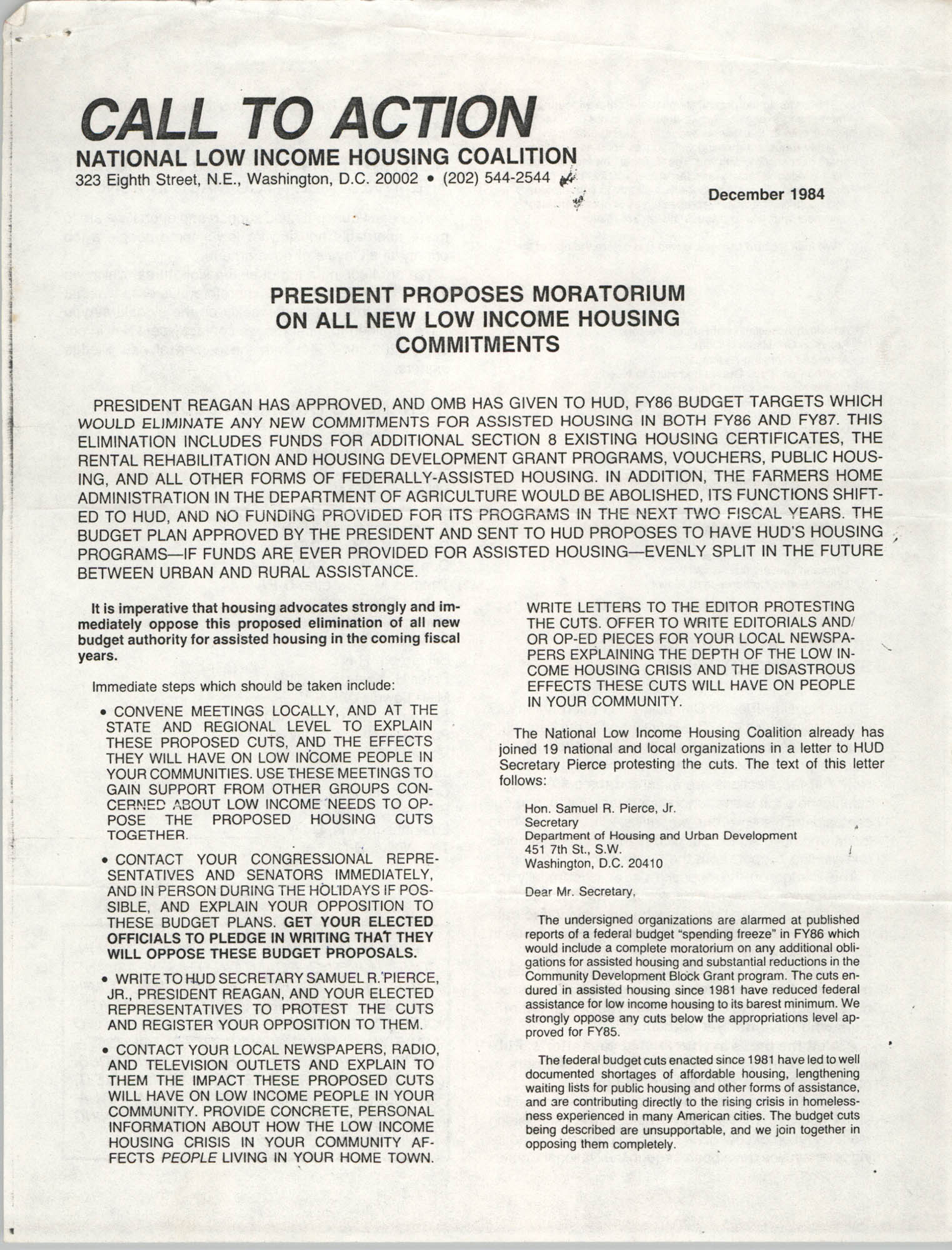 Call to Action, National Low Income Housing Coalition, December 1984