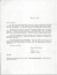 Letter from Susan K. Dunn, May 22, 1991