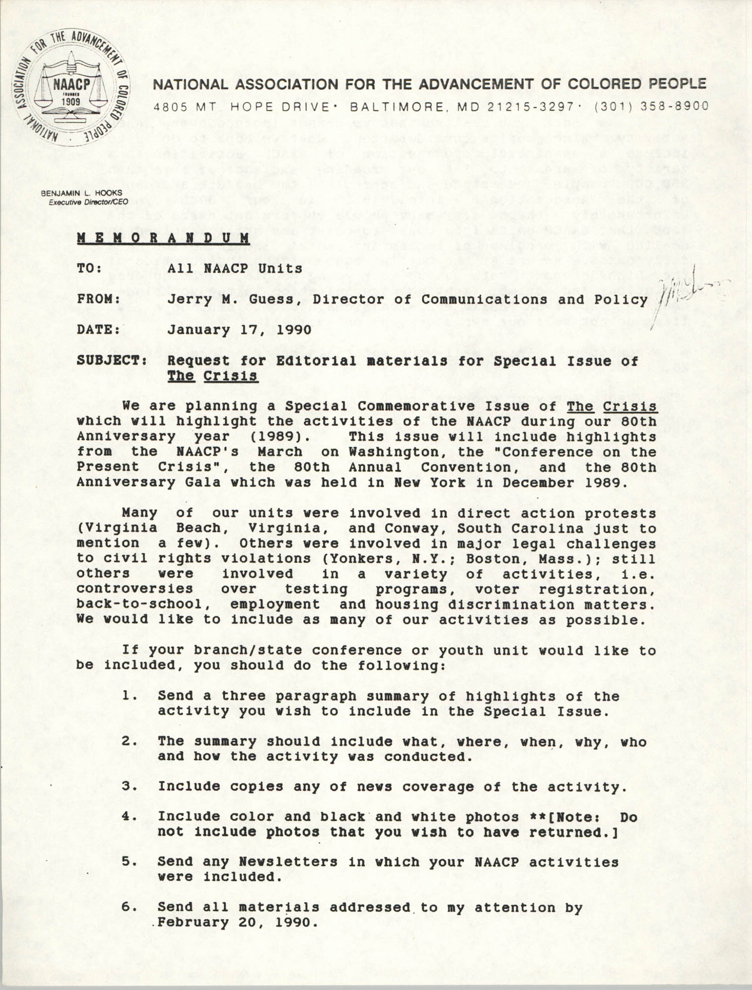 NAACP Memorandum, January 17, 1990