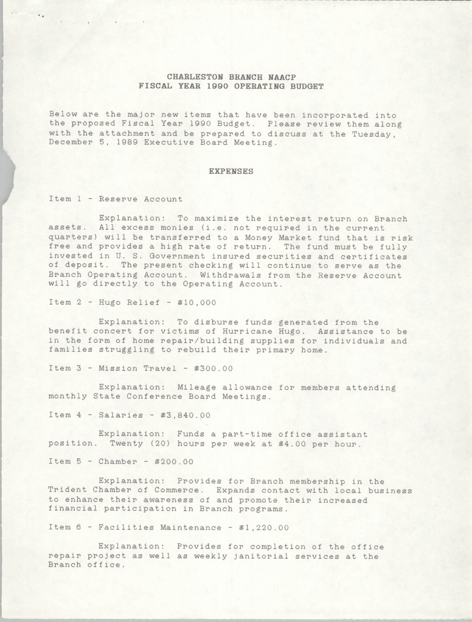 Charleston Branch of the NAACP Fiscal Year 1990 Operating Budget