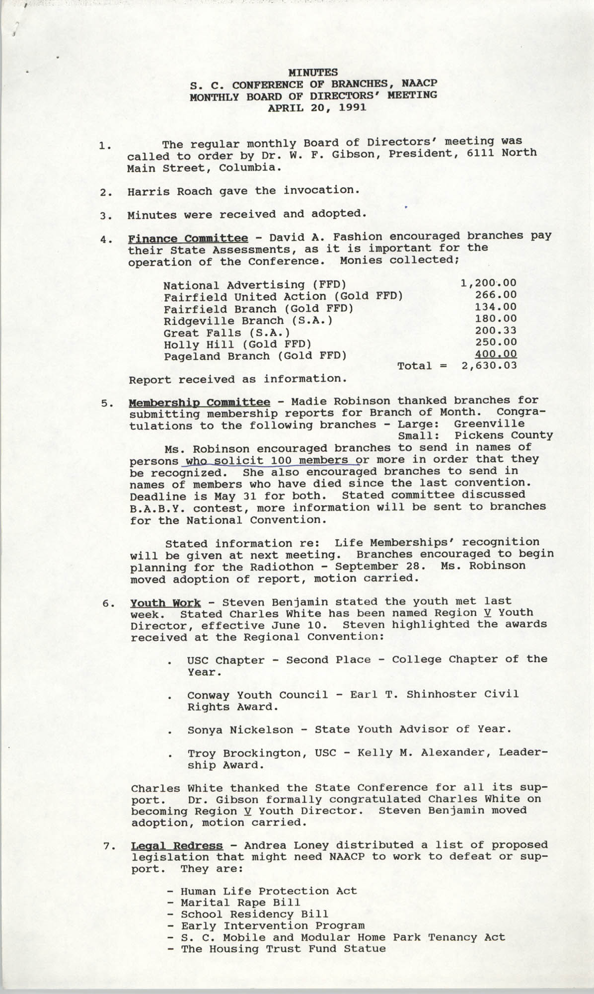 Minutes, South Carolina Conference of Branches of the NAACP, April 20, 1991