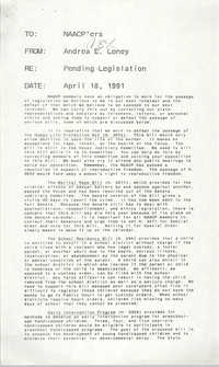 NAACP Memorandum, April 18, 1991